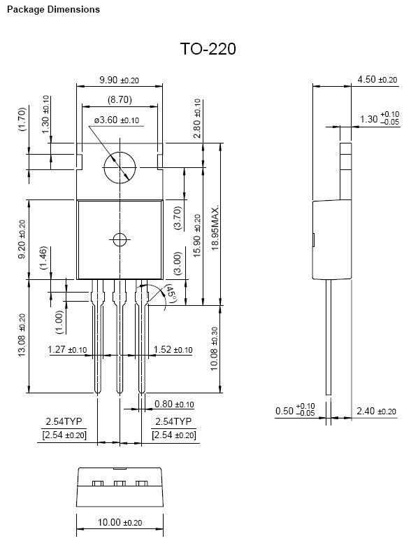 P-MOS 500V 2,7/10,8Ap 85W 3.9R (1,71A) FQP3P50 -