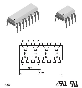 QUAD OPTO COUPLER TRANS-OUT 16p. CNY74-4H