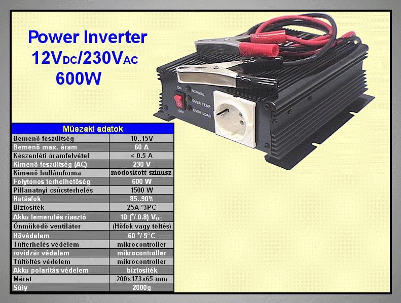 12VDC -> 230VAC 600W inverter (trapéz) P.SUP.INV0600W1