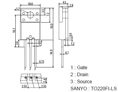Tranzisztor N-MOSFET 800V 2.5A/7,5Ap. 25W 3.6R (1.3A) 2SK2632LS 2SK2632LS -
