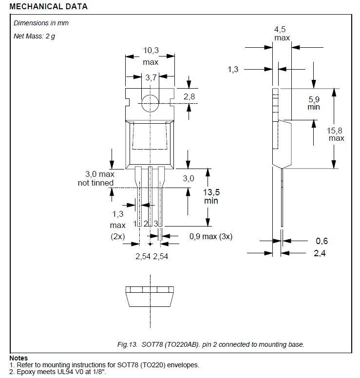 Tirisztor 500V 4A Igt/Ih<0.015/<0.1mA BT150-500R -