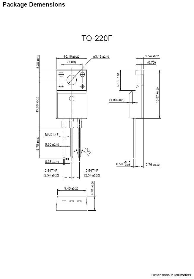 Tranzisztor NPN 1100/800V 3A/10Ap 40W 15MHz KSC5027F-R KSC5027F-R -