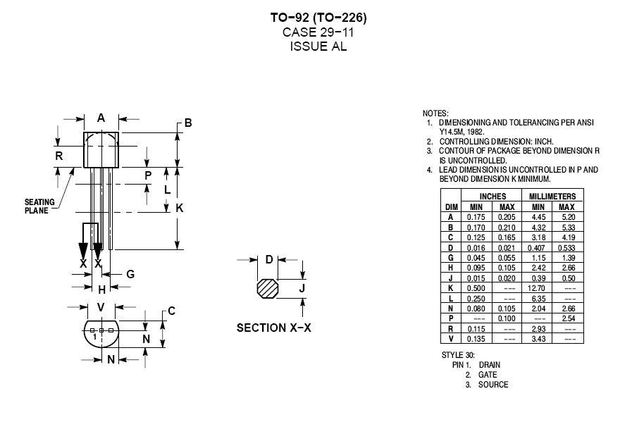 N-FET 25V 10mA 310mW Idss: 1..3mA Vgs:2.5V TO92 2N5457 -