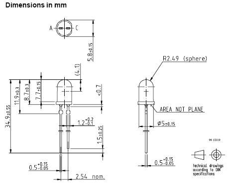 LED 5mm infravörös 950nm 14mW TSUS5400