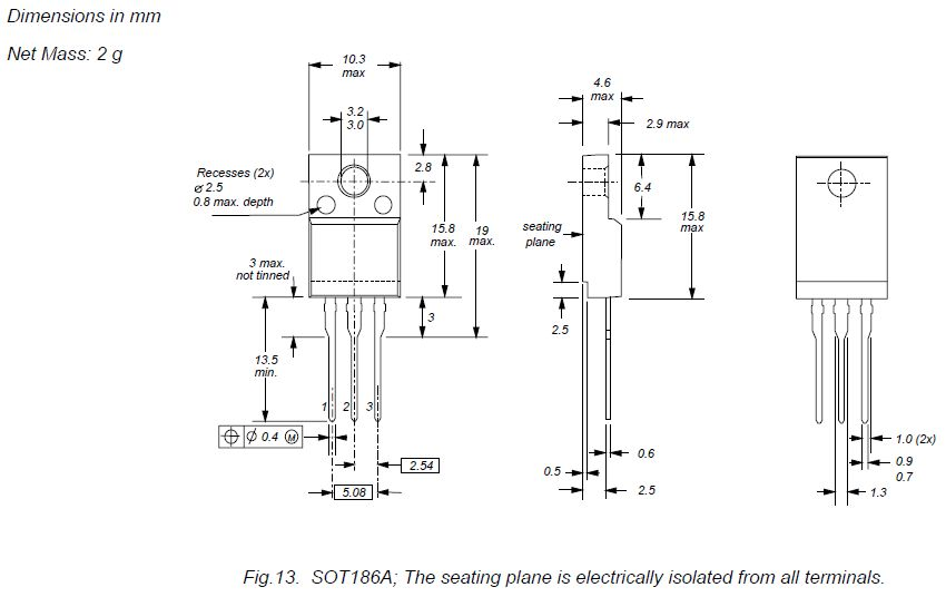 Tranzisztor NPN 1000/450V 5A 32W SL BUT11AX-PHI BUT11AX-PHI