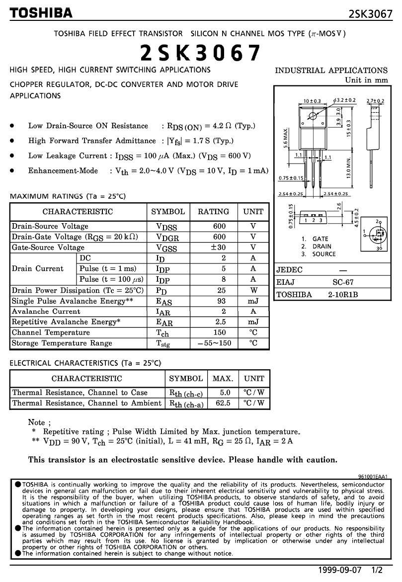 Tranzisztor N-MOSFET+D 600V 2A/5Ap(1mS) 25W 4.2R 2SK3067 2SK3067 -