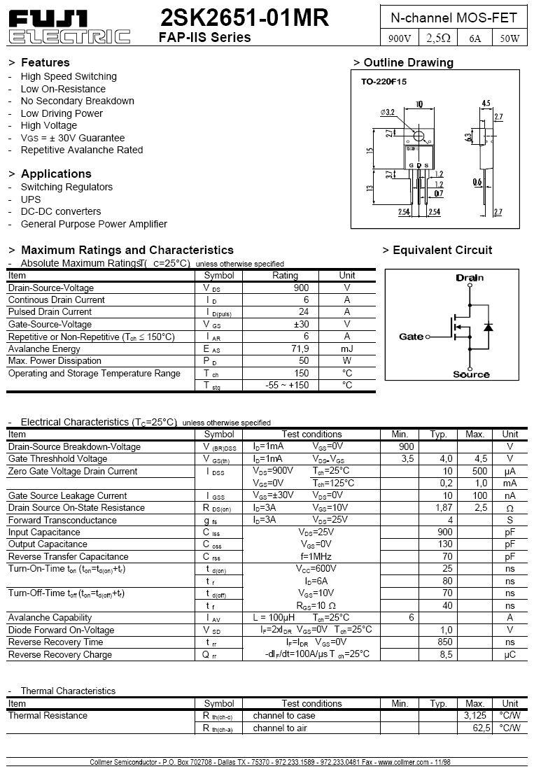 N-MOS 900V 6A/24Ap. 50W 1,78R (3A) 2SK2651 -