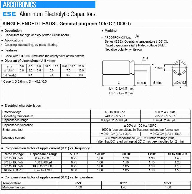 ELKO 220uF 16V 105°C 6.3x11 álló 220/16P-105