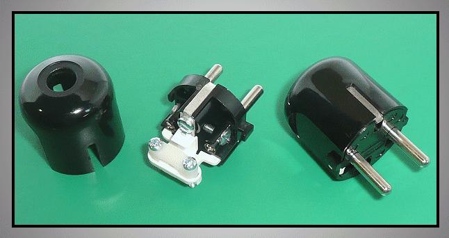 AC 230V földelt dugó 2P+F (DF162) fekete CSAT-P022/BH