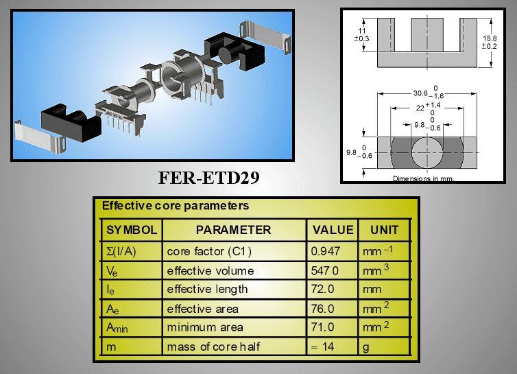FERRIT ETD29 vasmag 3F3, 2200 nH FER-ETD29-3F3