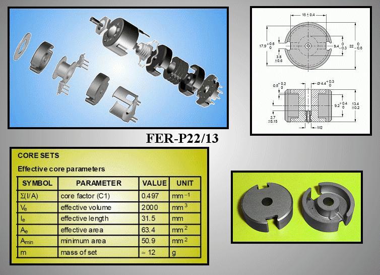 2db FERRIT 22x6,5mm Fazékvasmag 3F3 FER-P22/13-F