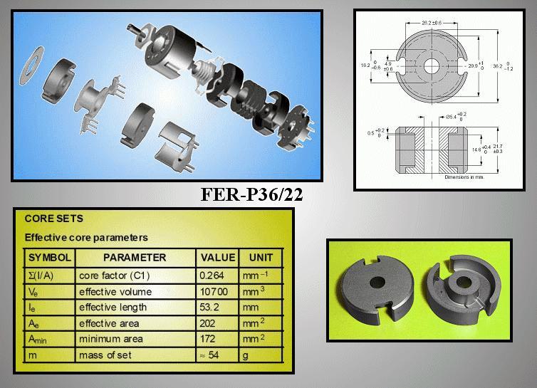 2db FERRIT 36x11mm Fazékvasmag 3F3 FER-P36/22-F