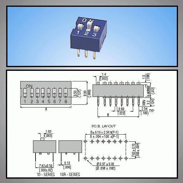 3 érintkezős DIP kapcsoló Stand. DS-03