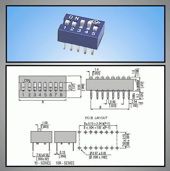 5 érintkezős DIP kapcsoló Stand. Blue DS-05