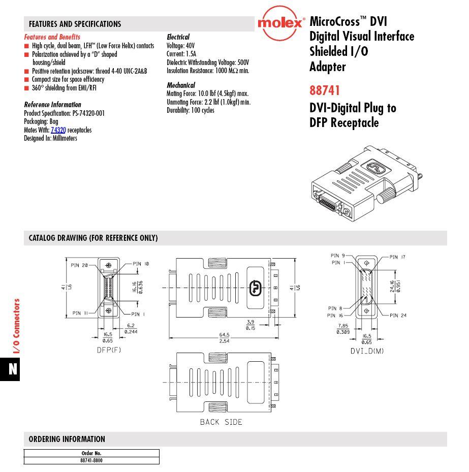DVI dugó - DFP 20p adapter GC-DVIM20F