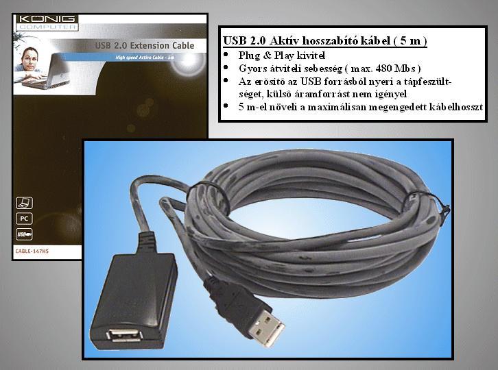 USB2.0-A dugó - USB2.0-A aljzat, kábel hossz. 5m AKTÍV toldó kábel CABLE USB-MFH5A