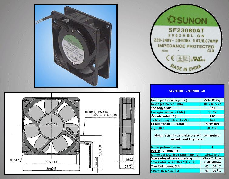 230V ventilátor 80x80x25mm SF23080AT2082HBL CY 230/08025-CS