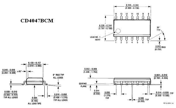 MONOSTAB/ASTAB MULTIVIBR. 14p.SMD 4047 CD4047BCM -