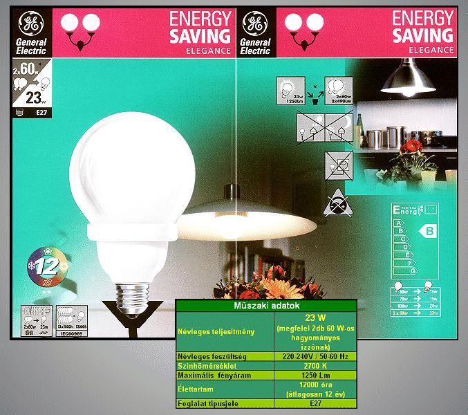Kompakt fénycső Gömb FLE23/QBX/A/GG827 12Y LAMP E27/23W-827G
