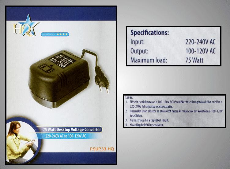 230VAC adapter 115VAC 75W P.SUP.A230/075