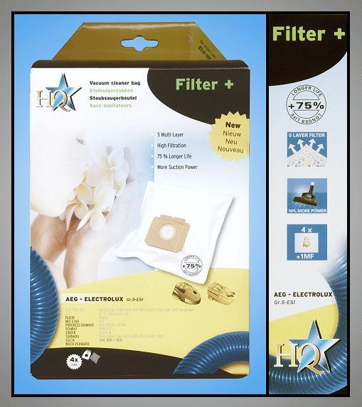 Porszívó papír porzsák 4db+1 Tipe:GR5/E51 W7-00401/R5