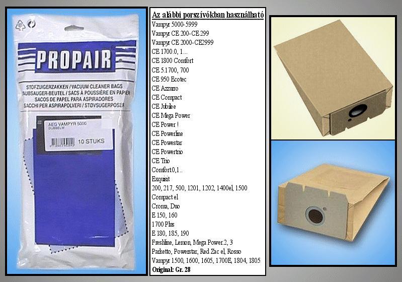 Porszívó papír porzsák 10db Tipe:GR8/16/20/26 W7-00403