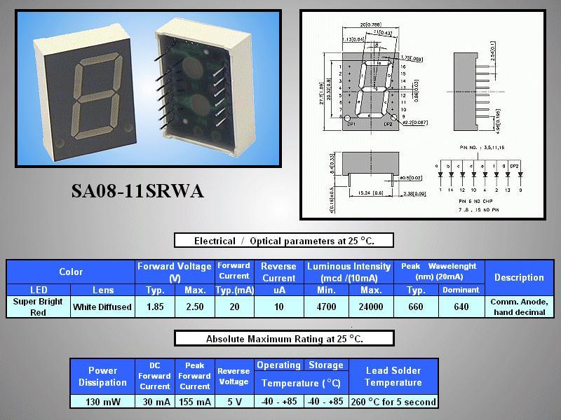 7 Szegmenses kijelző 20mm K.A.sz.piros SA08-11SRWA