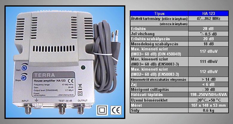 Antenna erősítő 47-862MHz, 2-OUT ANT AMP HA123