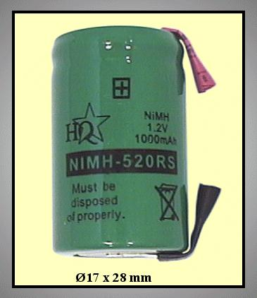 Ni-MH 1.2V 1000mAh akkumulátor 17x28mm ACCU-1.2/1000
