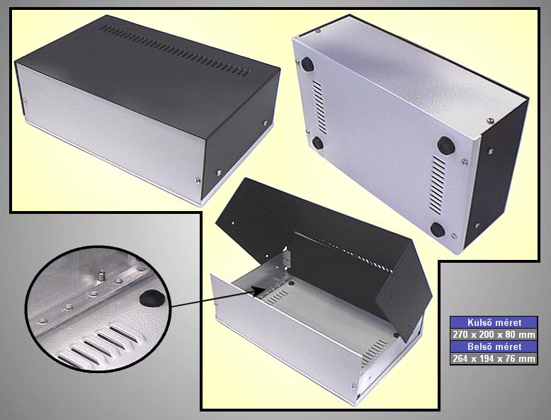 Alumínium műszerdoboz 270x200x80mm BOX M270/200/08