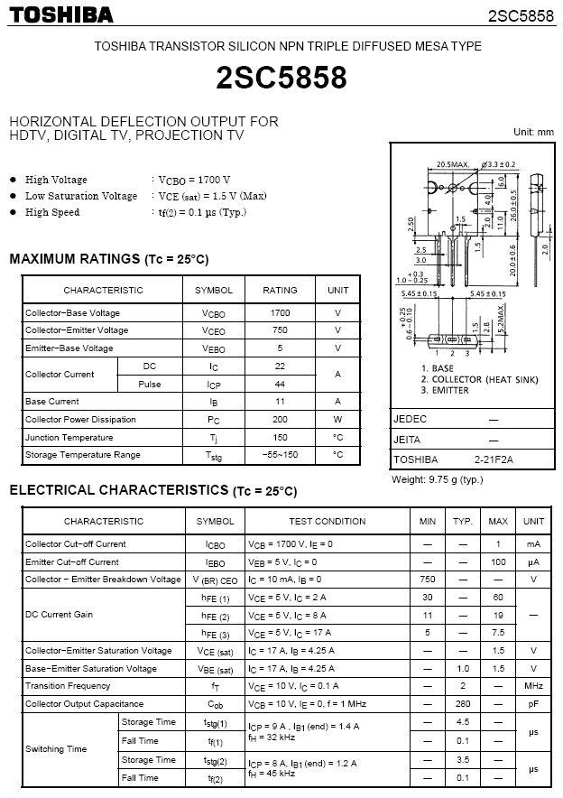 Tranzisztor NPN 1700/750V 22A(44App) 200W 0.1uS 2SC5858 2SC5858 -