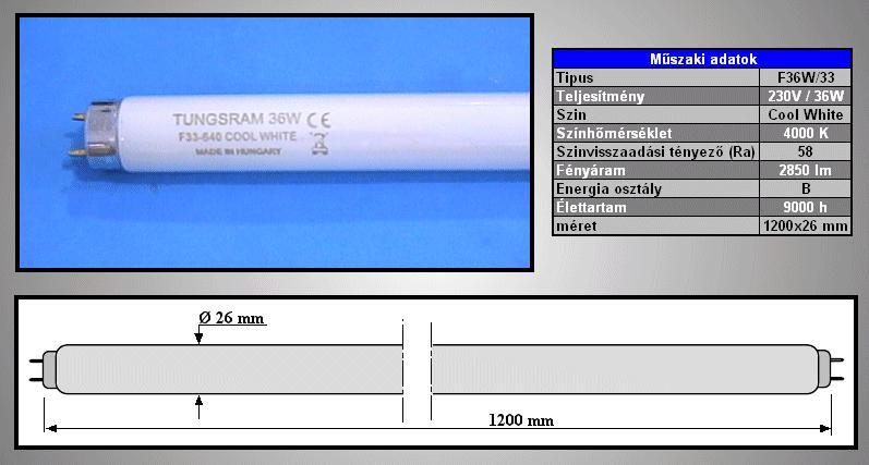 26x120 Fénycső 36W/F840 (33986) LAMP 006120/36C