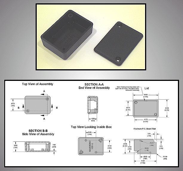 Univerzális műanyag doboz 50x35x17mm, fekete BOX HM1551GBK