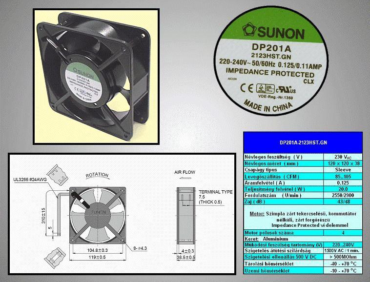 230V ventilátor 120x120x38mm DP201A2123HST.GN CY 230/12038 H