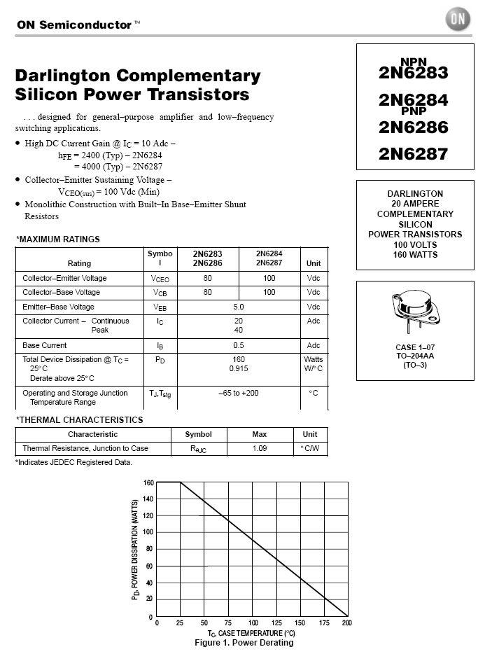 Tranzisztor PNP Darlington+D 100V 20A 160W hFE:>750 TO-3 2N6287 2N6287