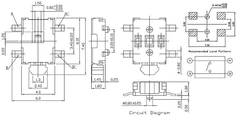 SMD mikrokapcsoló 6.1x4.1mm 4p. SMD1206 SW1000S614