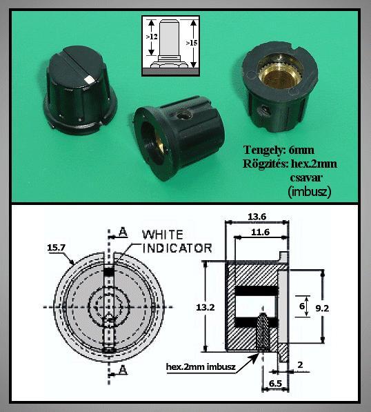 Potméter gomb 14.2x12.3-15.5mm POT-KNOB02/12B