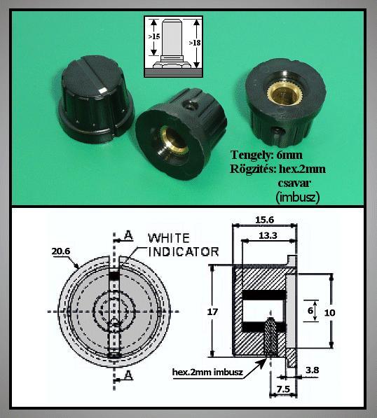 Potméter gomb 15.6x15.7-20.7mm POT-KNOB02/15B