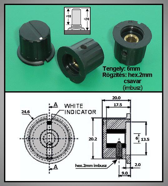 Potméter gomb 20.0x19.5-24.0mm POT-KNOB02/19B