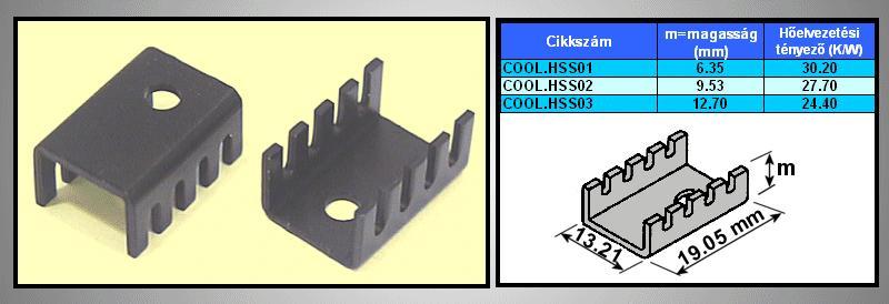 Hűtőborda TO220 19x13.2x6,35mm COOL.HSS01