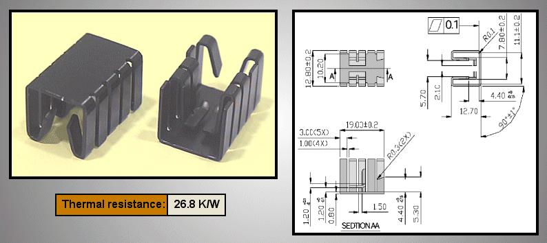 Hűtőborda TO220 19x12,8x12,7mm COOL.HS010