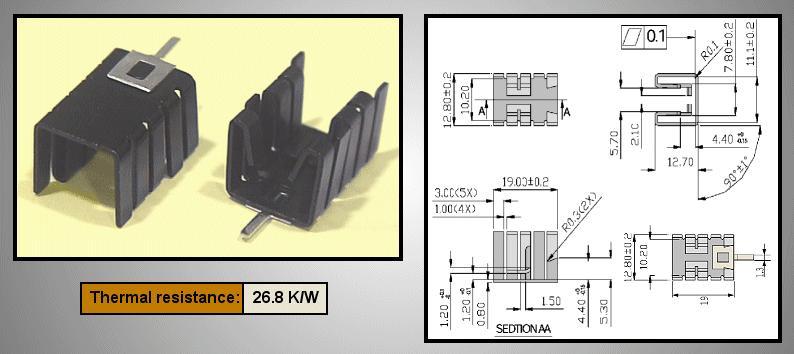 Hűtőborda TO220 19x12,8x12,7mm PCB COOL.HS011