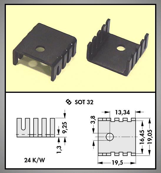 Hűtőborda TO220 19x19x9.5mm COOL.HS001