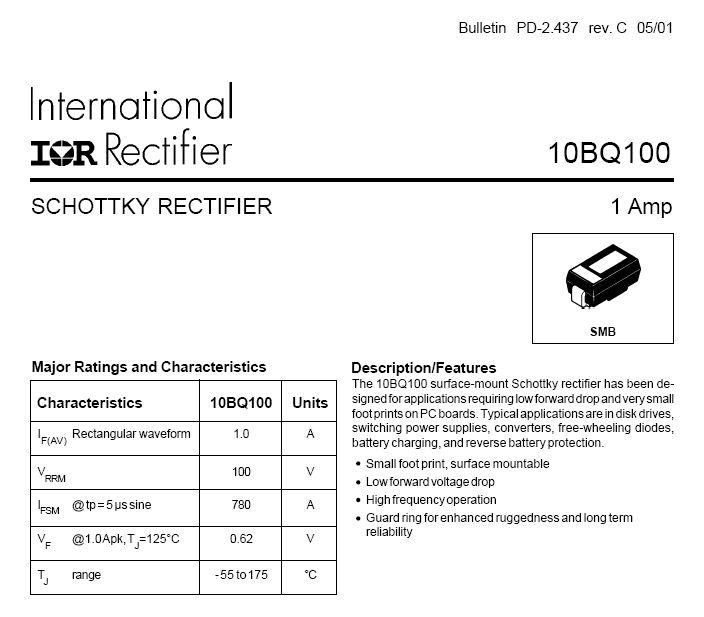Dióda, SMD SCHOTTKY 100V 1A/38Ap 10BQ100 10BQ100 -