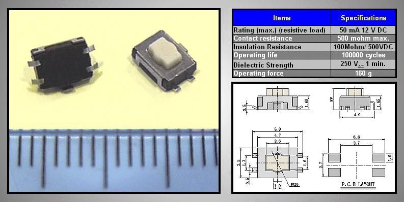 SMD mikrokapcsoló 4.7x3.5mm 4p g.0.85 SW1000S47
