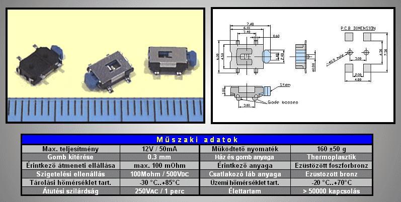 SMD mikrokapcsoló 6.1x4.1mm 4p. SMD1206 SW1000S614 -