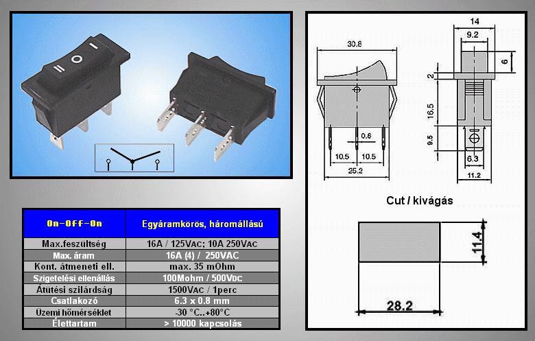 Billenő fekete I/O/II 1 áramkörös ON-OFF-ON SW2130