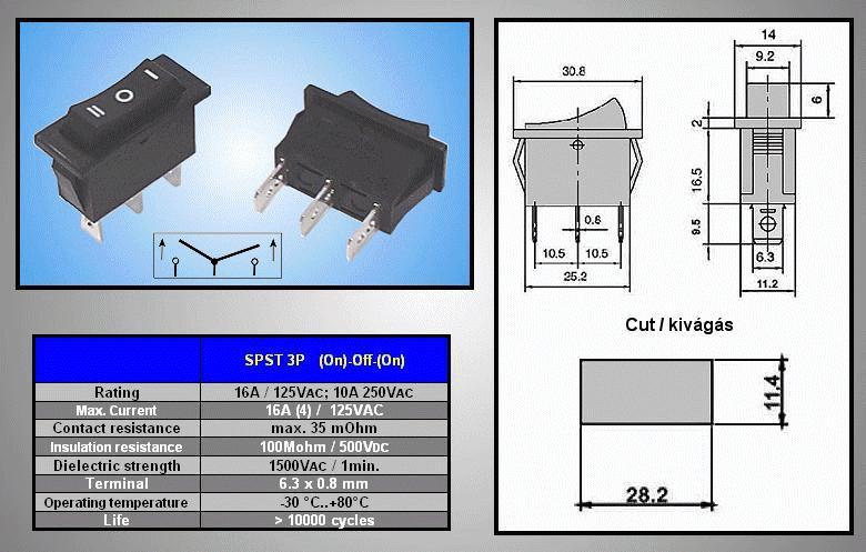 Billenő fekete I/O/II 1 áramkörös rugós (ON)-OFF-(ON) SW2132