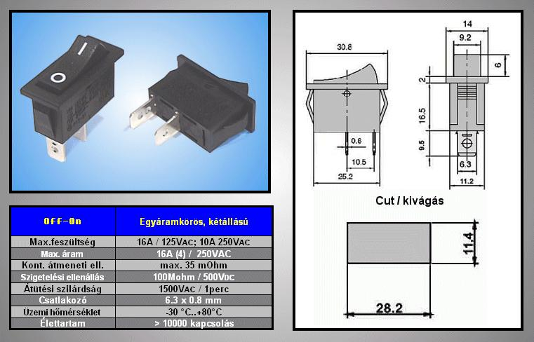 Billenő fekete I/O 1 áramkörös ON-OFF SW2112