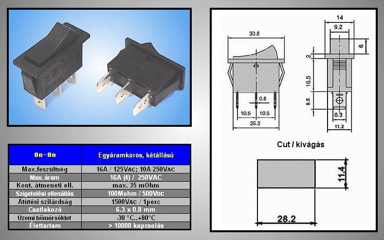 Billenő fekete 1 áramkörös 10A 250Vac ON-ON SW2120